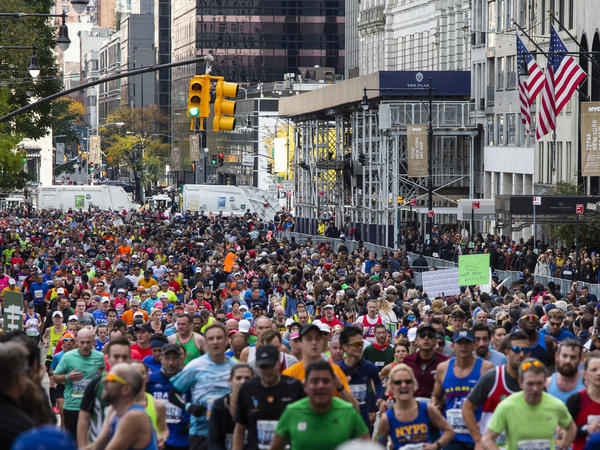 A view of runners taking part in the 2019 New York City Marathon.