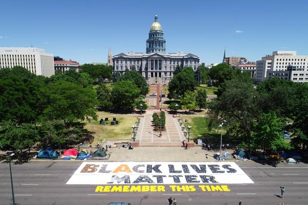 A Black Lives Matter mural in front of the Colorado Capitol in Denver