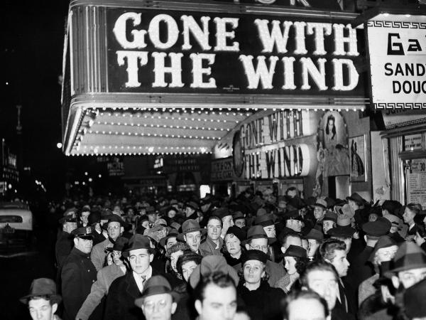 The New York premiere of <em>Gone With the Wind</em> on Dec. 19, 1939, in the Astor Theater on Broadway.