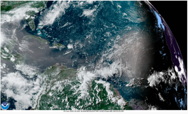 More dust than you would probably like is shown in a satellite image drifting toward the southeastern U.S. on June 24, 2020.