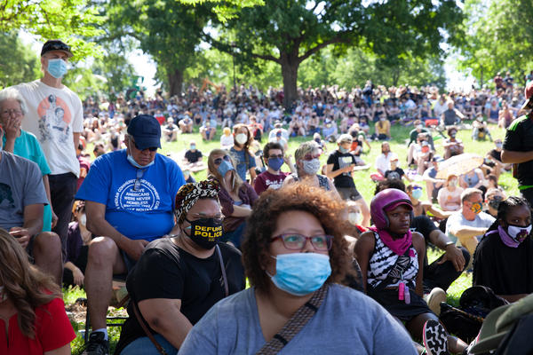 The crowd at the June 7 rally where Minneapolis City Council members pledged to begin dismantling the city's police department.