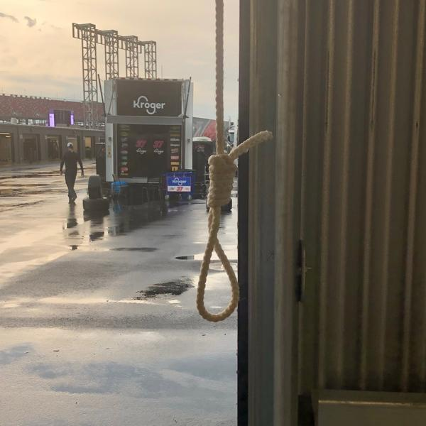 This photo, taken by NASCAR security personnel and released by NASCAR, shows the noose tied using a garage door 'pull rope' at the Talladega Superspeedway in Lincoln, Ala. on Sunday, June 21, 2020.