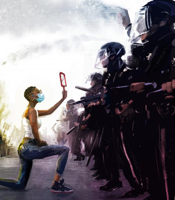 "Artist Nikkolas Smith found inspiration for this painting in <a href=""https://www.instagram.com/p/CA0STpYl9ZK/"">Dai Sugano's photograph</a> of a protester kneeling before police. Smith posts his digital paintings — many with social justice themes — to social media in the hope that his art will inspire change."