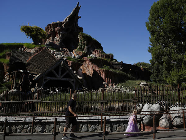 Guests walk in line to Splash Mountain at Disneyland in 2013.