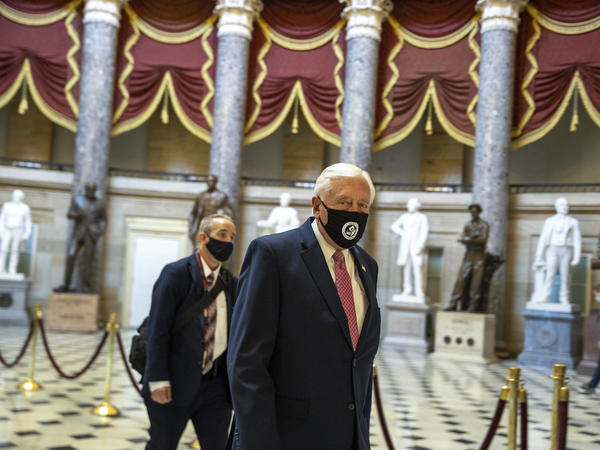 House Majority Leader Rep. Steny Hoyer walks through Statuary Hall at the U.S. Capitol.