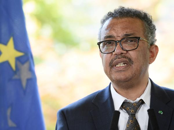 World Health Organization Director-General Tedros Adhanom Ghebreyesus speaks during a news conference this week in Geneva.