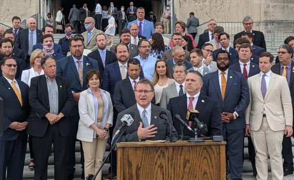 Senate President Page Cortez and House Speaker Clay Schexnayder gather with their fellow Republican state lawmakers as they roll out their agenda for the special session that began June 1