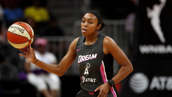 Atlanta Dream guard Renee Montgomery cases the ball in the first half of a WNBA basketball game against the Chicago Sky Tuesday, Aug. 20, 2019, in Atlanta. (John Bazemore/AP)