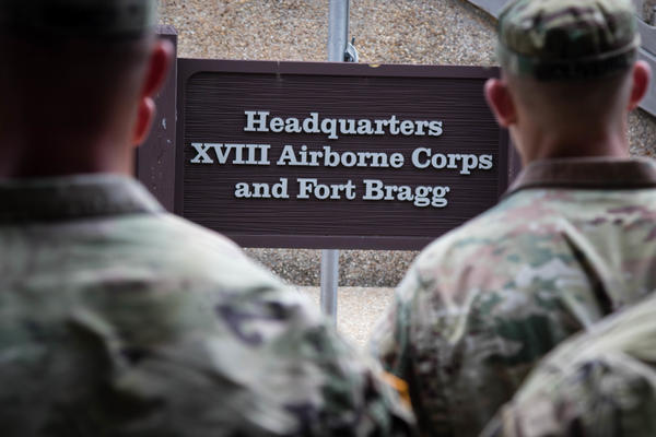 Soldiers gather for a 2019 awards ceremony at Fort Bragg, N.C. The base is one of 10 that Pentagon leaders say they are open to renaming.