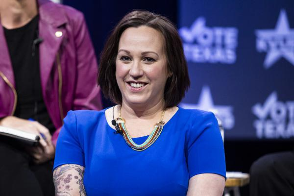 MJ Hegar participates in a debate in February with other candidates running for the Democratic nomination for U.S. Senate.