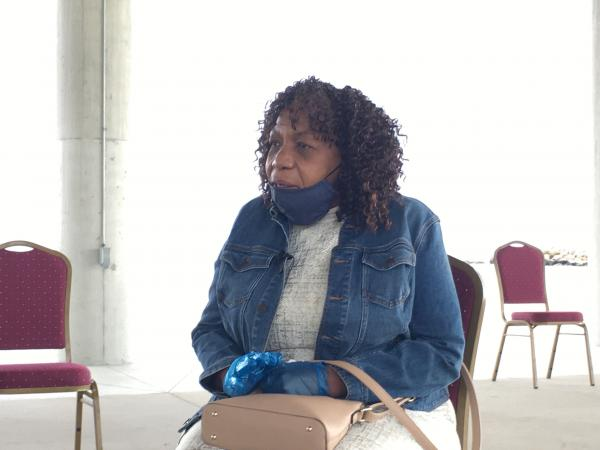 Gwen Carr speaks to the media ahead of her appearance in New London at the city's Ocean Beach Pavilion.