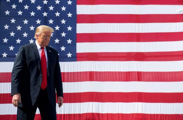 US President Donald Trump gestures following a tour of Fincantieri Marinette Marine in Marinette, Wisconsin, June 25, 2020. (Saul Loeb/AFP)