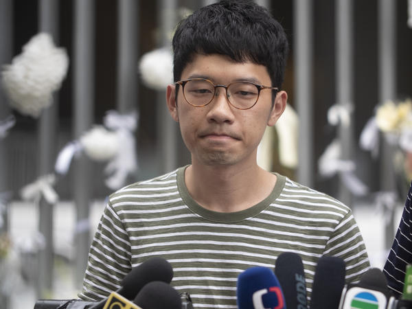 Pro-democracy party activist Nathan Law speaks to the media outside Hong Kong's Legislative Council building last year.