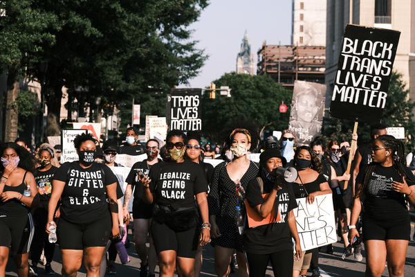 "Protesters gather for the Black Women Matter ""Say Her Name"" march on July 3 in Richmond, Va."