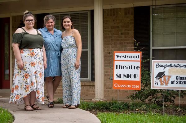 Annabelle Hicks, Ann Marie Cotman Hicks and Allison Hicks outside their north Austin home on July 1, 2020.