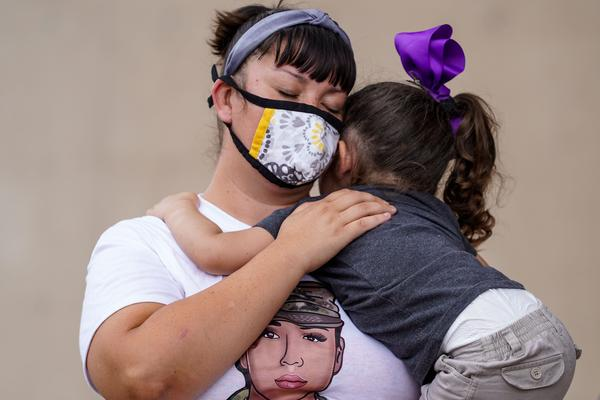 Denisse Benavides, 38, with La Monarca Foundation, and her daughter Ariah Contreras, 3, attended the press conference.