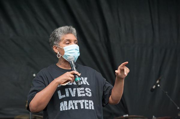 State Rep. Regina Goodwin speaks at a Juneteenth celebration in Tulsa, Okla. on Friday, June 19, 2020.