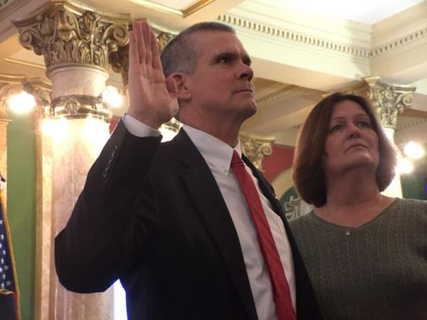 Matt Rosendale is sworn in January 2, 2017 as Montana State Auditor at the state Capitol. He was joined by his wife Jean. Rosendale served as Senate Majority Leader in the 2015 Montana Legislature.