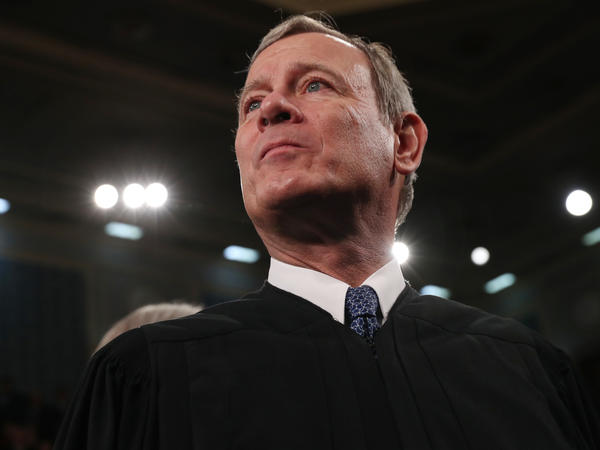 Chief Justice of the United States John Roberts awaits the arrival of President Trump in the House of Representatives to deliver the State of the Union address in February. Roberts spent one night in the hospital in June after injuring his forehead in a fall.