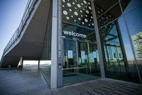 The front doors of the Institute of Contemporary Art in the Seaport. (Jesse Costa/WBUR)
