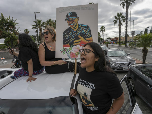 Activists and relatives of Andres Guardado, who was shot and killed by an LA County sheriff's deputy in Gardena, called for justice last month. An independent autopsy has found Guardado was shot five times in the back.