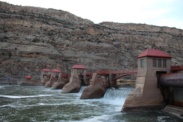 This diversion dam on the Colorado River in Debeque Canyon marks the start of the Government Highline Canal, which diverts water for irrigation in the Grand Valley.