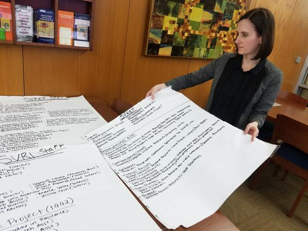 Amy Rushing holds handwritten notes by archivist Leah Rios that detailed how the SVREP collection would be organized.