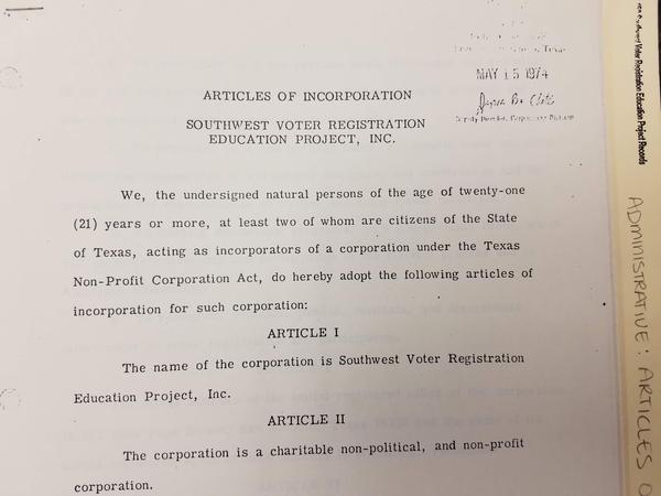 SVREP Articles of Incorporation archived at UTSA Special Collections.