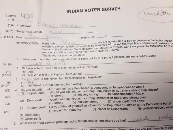 Indian voter survey distributed by the SVREP, archived at UTSA Special Collections..