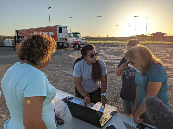 West Texas Food Bank staffers plan a food drive in Presidio.