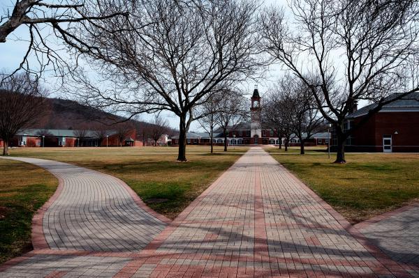 Quinnipiac's empty campus in Hamden at the beginning of the pandemic.