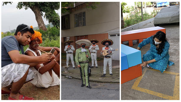 Left: Tech entrepreneur Ruchit Garg is helping farmers connect to customers in India. Center: A mariachi band brings music and joy to the streets of Colombia during lockdown. Right: Designer Rhea Shah created an affordable cardboard bed for health facilities in India.