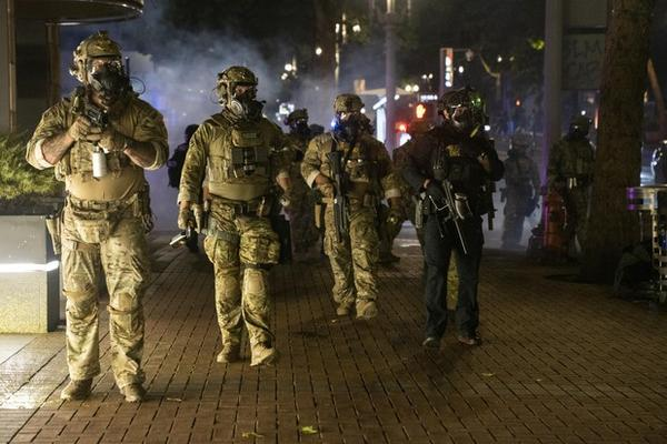 <p>Federal law enforcement officers, along with PPB, dispersed hundreds of protesters from the Multnomah County Justice Center and federal courthouse on the 4th of July during protests against systemic racism and police violence.</p>