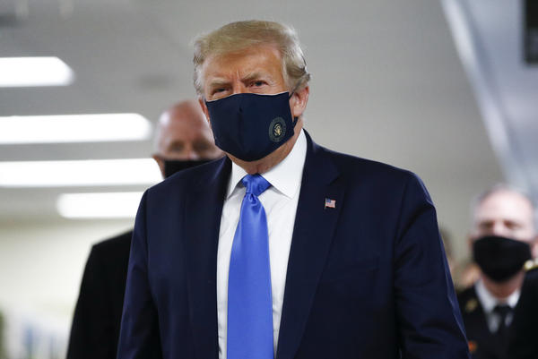 President Trump wears a mask during his visit to Walter Reed National Military Medical Center in Bethesda, Md., on Saturday.