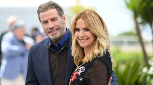 Actress Kelly Preston with her husband, John Travolta, at the Cannes Film Festival in 2018. The actress died after a two-year fight with breast cancer.