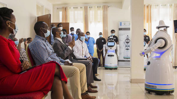 "A robot introduces itself to patients in Kigali, Rwanda. The robots, used in Rwanda's treatment centers, can screen people for COVID-19 and deliver food and medication, among other tasks. The robots were donated by the United Nations Development Program and the <a href=""https://minict.gov.rw/home/"">Rwanda Ministry of ICT and Innovation.</a>"
