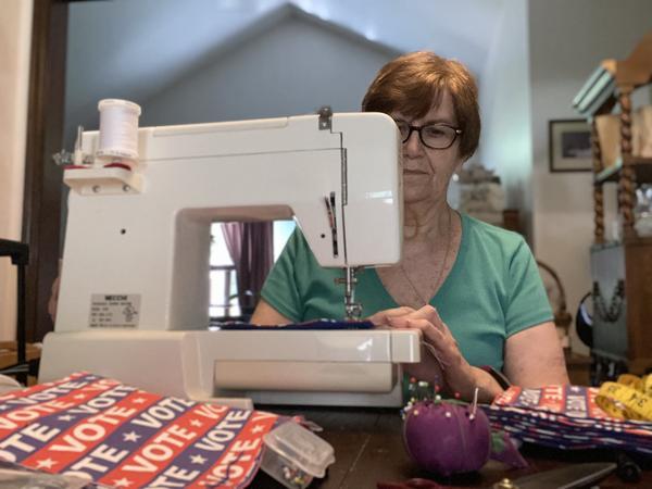 Sandra Weisner, Columbus, sews masks