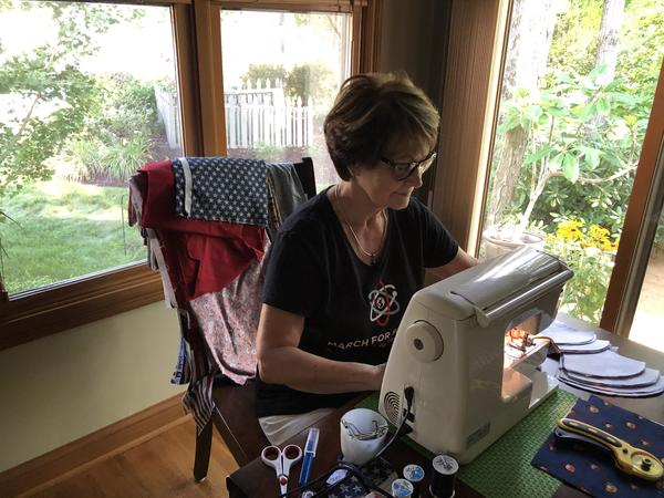 Brenda Clark, Columbus, sews masks