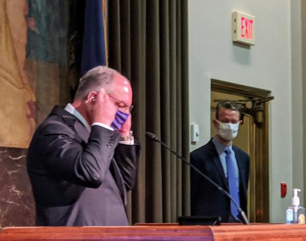 Gov. John Bel Edwards dons a mask after wrapping up his weekly coronavirus briefing. June 8, 2020.
