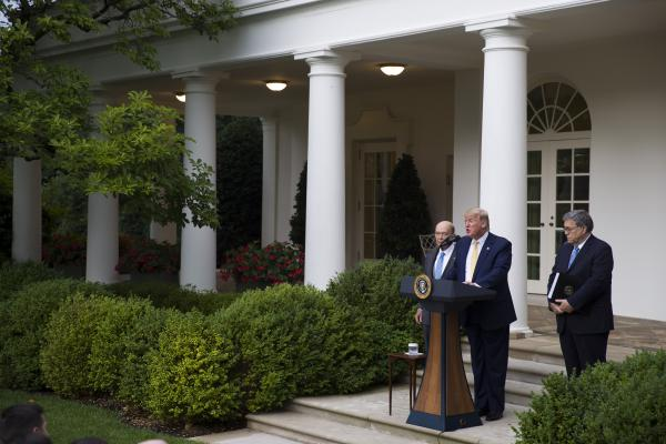 Iowa, Nebraska, South Carolina and South Dakota have agreed to share their state driver's license and state ID records with the U.S. Census Bureau as part of efforts to carry out an executive order for citizenship data that President Trump announced in July 2019 with Commerce Secretary Wilbur Ross (left) and U.S. Attorney General William Barr in the White House Rose Garden.
