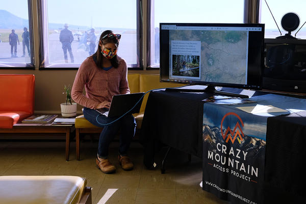 Erica Lighthiser, director of the Park County Environmental Council, prepares for a press debrief July 9, 2020 at the Mission Field Airport near Livingston to discuss the Crazy Mountain Access Project's proposed land exchange.