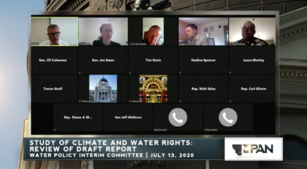 Members of the Montana Water Policy Interim Committee met remotely July 13, 2020.