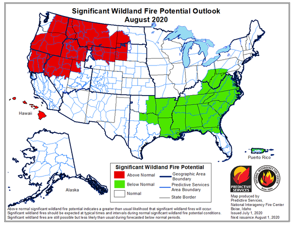 The National Interagency Fire Center Predictive Services is forecasting above normal fire potential for western Montana in August 2020.