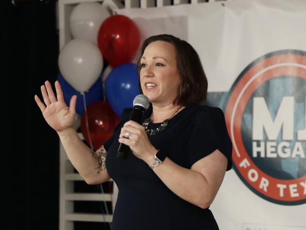 Democratic U.S. Senate candidate MJ Hegar speaks to supporters in Austin, Texas, in March.
