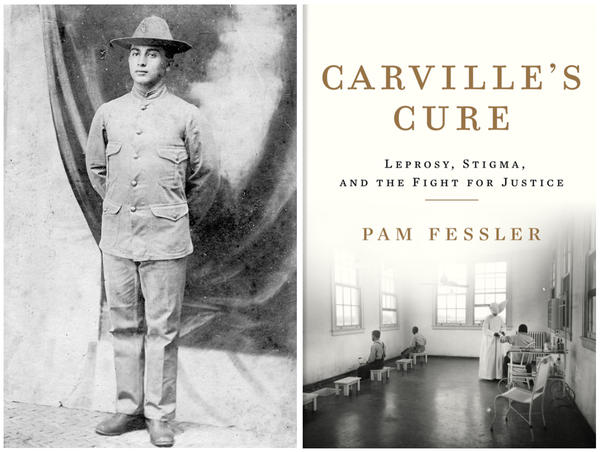 Morris Koll, grandfather of NPR correspondent Pam Fessler's husband, enlisted in the U.S. Army and was sent to the Philippines in 1902. That's when he contracted leprosy. In 1935, public health authorities took him to the national leprosarium in Carville, La. Right: A treatment room at the facility is depicted on the cover of Fessler's new book, <em>Carville's Cure.</em>