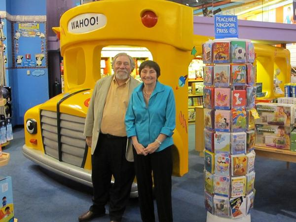 The creators of <em>The Magic School Bus </em>series: illustrator Bruce Degen and author Joanna Cole, posing at the Scholastic Store in New York City in an undated photo.