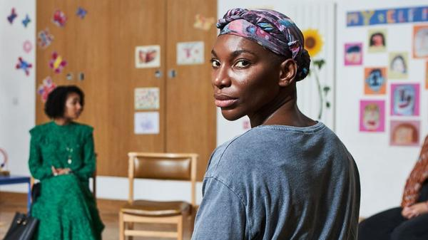 Arabella (Michaela Coel) attends a support meeting with other survivors of sexual assault on HBO's<em> I May Destroy You. </em>Coel, the show's creator, writer, director and star, based the series on a personal experience.