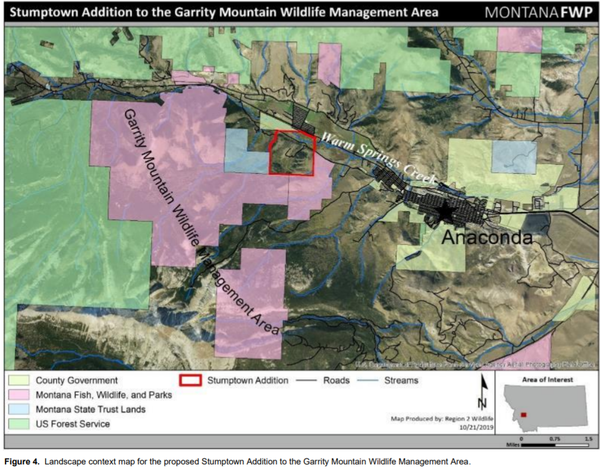 A map of the proposed 600 acre addition to the Garrity Mountain Wildlife Management Area.