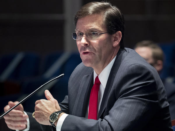 Defense Secretary Mark Esper, shown here last week on Capitol Hill, lists flags that are authorized to be displayed on U.S. military property in a memo Friday. The Confederate battle flag is missing from the list.