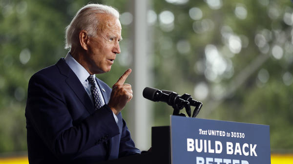 Democratic presidential candidate Joe Biden speaks in Dunmore, Pa., on July 9, at one of the few in-person events he's holding. Despite a low-key approach to campaigning, he's built a lead over President Trump in key battleground states.